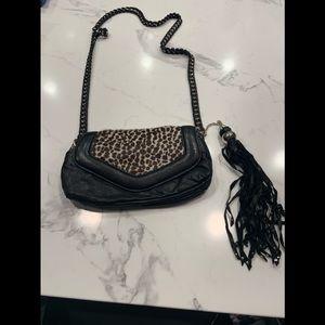 Nanette Lepore Leather and Fur Handbag